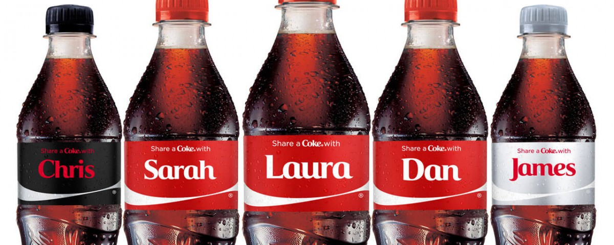 Coke bottle with personalized names