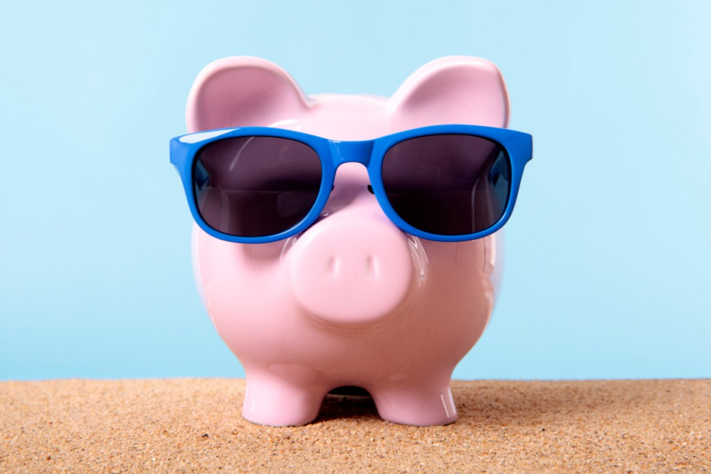Piggy Bank on beach vacation