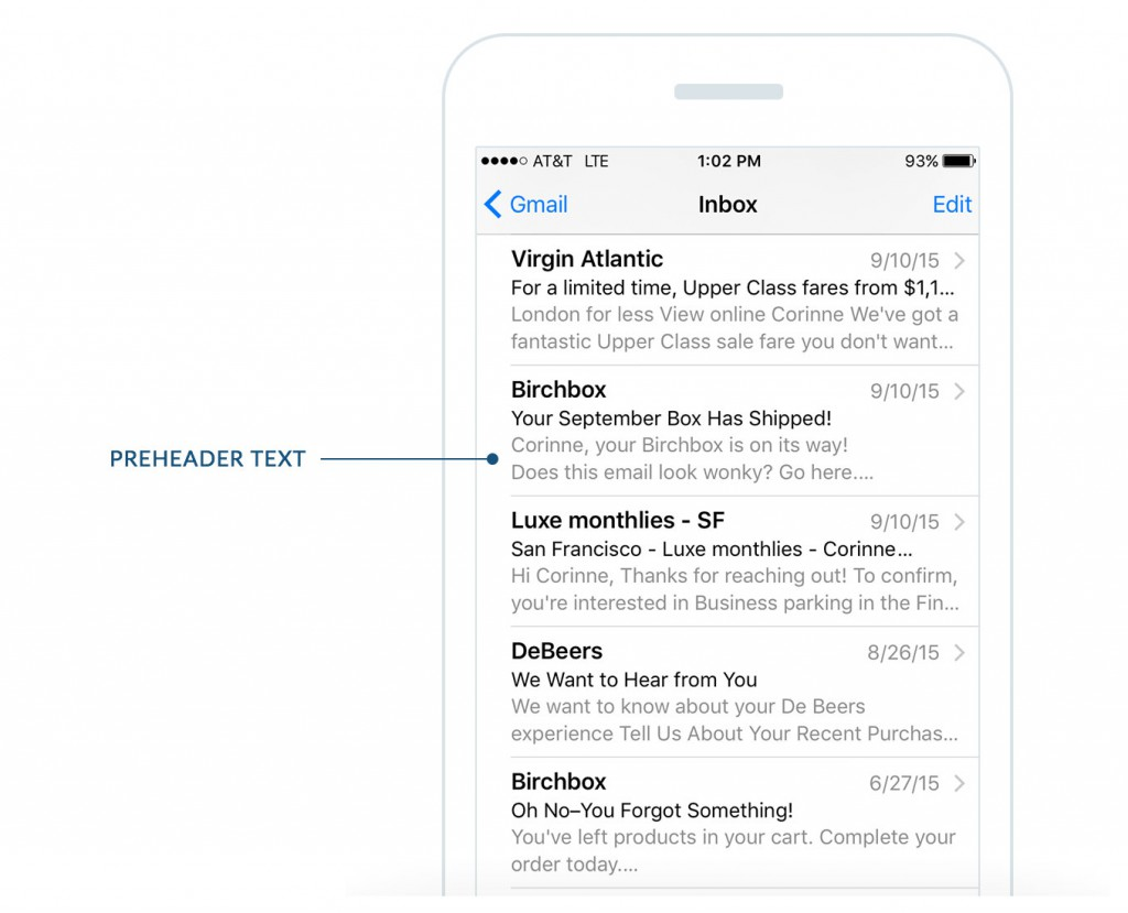 email preheader text on mobile device