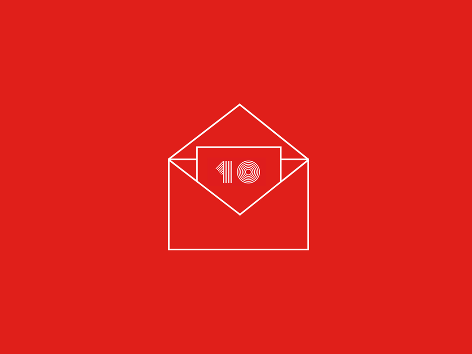 Email envelope with number 10 on it
