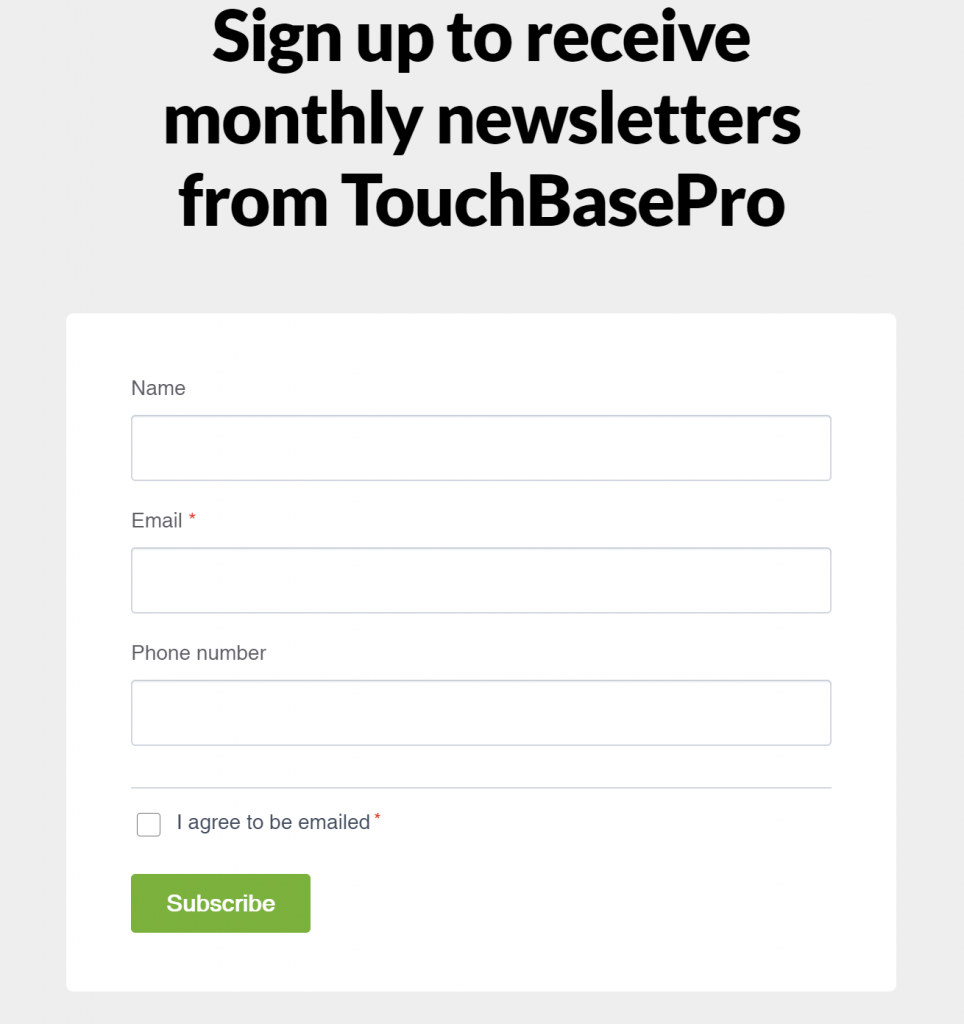 TouchBasePro Example sign-up form