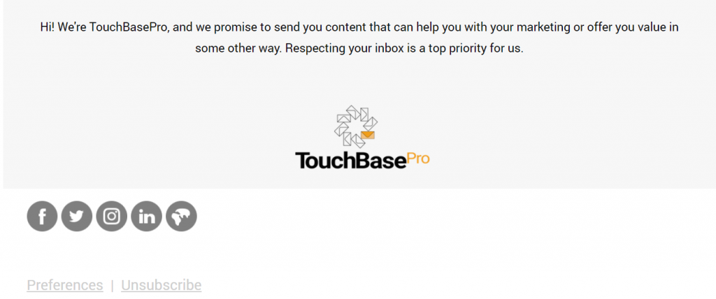 TouchBasePro Email Footer Example