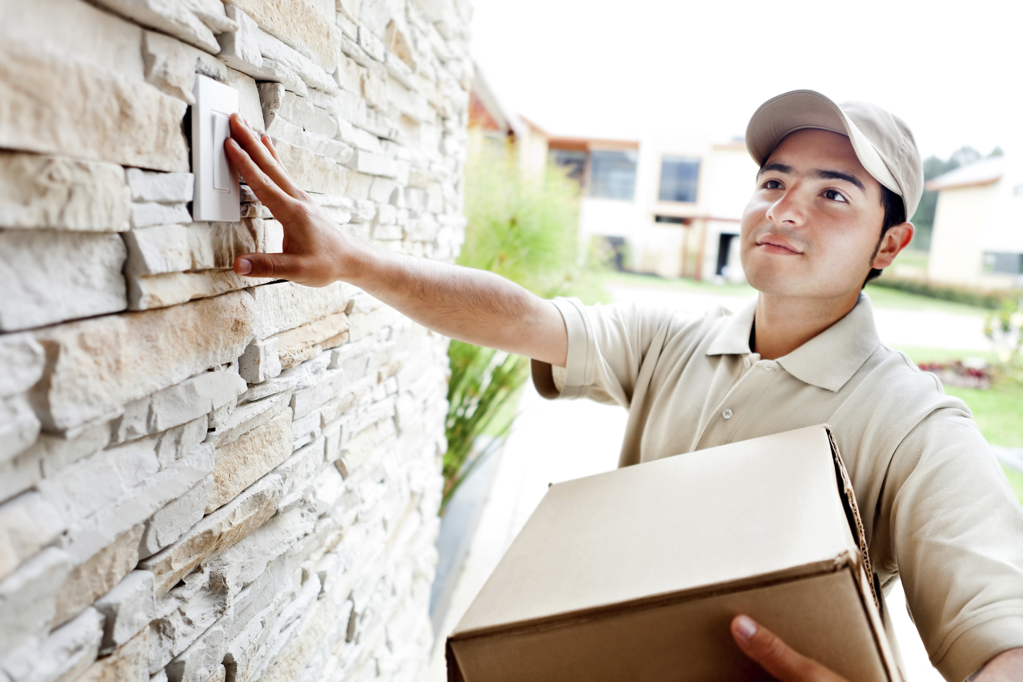 delivery man ringing doorbell touchbasepro